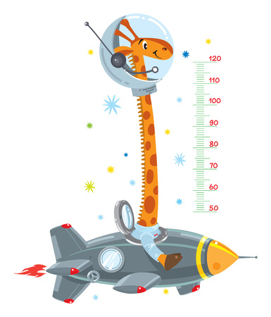 Giraffe on rocket illustration.
