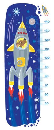Funny dog in rocket illustration.