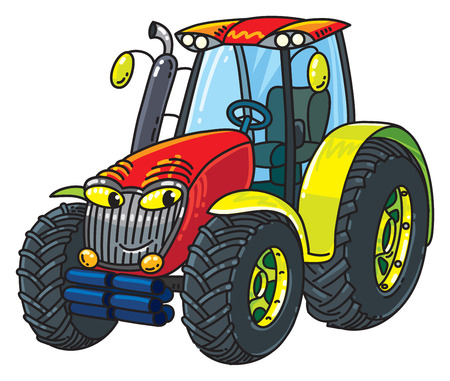 Funny small tractor with eyes.