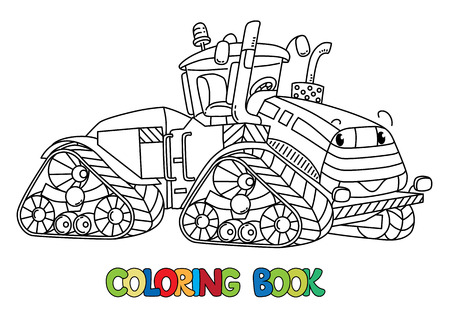 Tractor coloring book for kids. Small funny vector cute car with eyes and mouth. Children vector illustration.