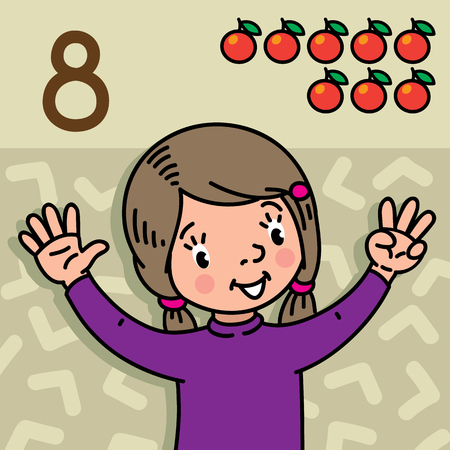 Card 8. Girl in sweater on olive background. Kid's hands showing the number eight hand sign. Childrens vector illustration for counting education cards from 1 to 10.