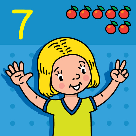 Card 7. Girl in t-shirt on blue background. Kid's hands showing the number seven hand sign. Childrens vector illustration for counting education cards from 1 to 10.