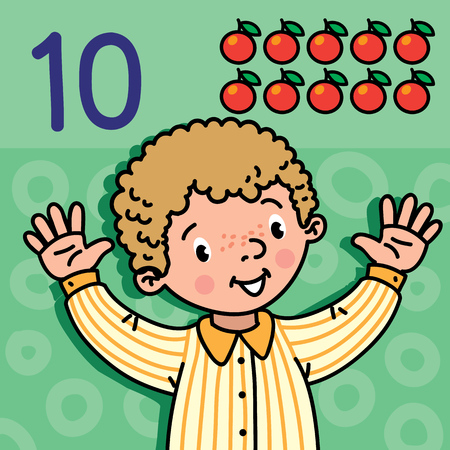 카드 10. 녹색 파란색 배경에 셔츠에 소년입니다. 아이의 손에 번호 10 손 기호를 게재합니다. 어린이 벡터 일러스트 레이 션 1에서 10 교육 카드를 계산