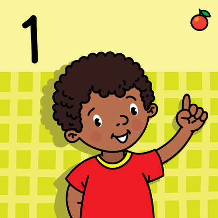 Card 1. African boy in red t-shirt on light-green background. Kid's hand showing the number one hand sign. Childrens vector illustration for counting education cards from 1 to 10.