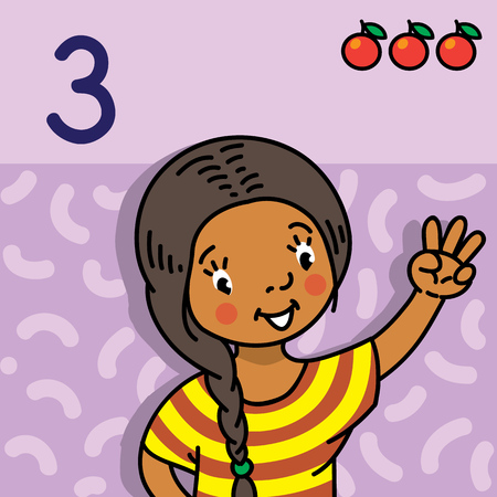 Card 3. Indian girl in dress on light-violet background. Kid's hand showing the number three hand sign. Childrens vector illustration for counting education cards from 1 to 10.