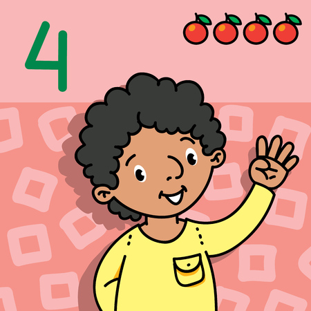 Card 4. Arabian boy in shirt on light-red background. Kid's hand showing the number four hand sign. Childrens vector illustration for counting education cards from 1 to 10.