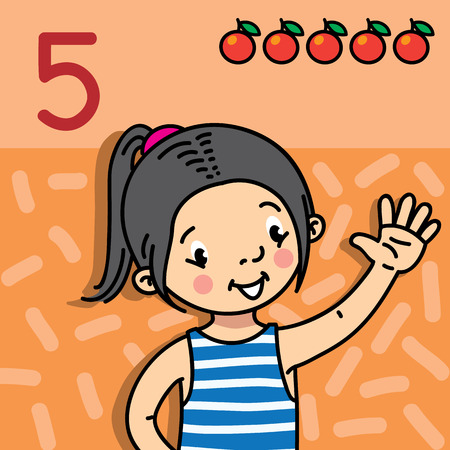 Card 5. Asian girl in striped vest on orange background. Kid's hand showing the number five hand sign. Childrens vector illustration for counting education cards from 1 to 10. Ilustração