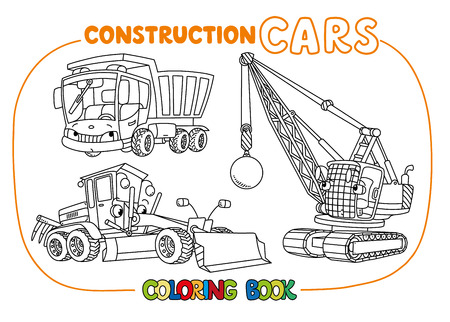 Funny construction cars set for coloring book.