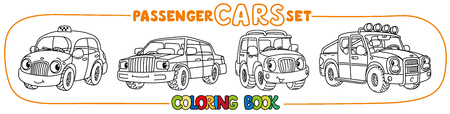Funny small city cars with eyes. Coloring book set