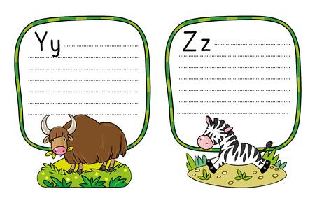 Animals alphabet or ABC. 向量圖像