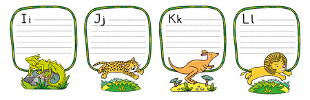Animals on alphabet set Illustration