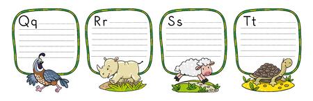 Animals alphabet or ABC. Vector illustration.