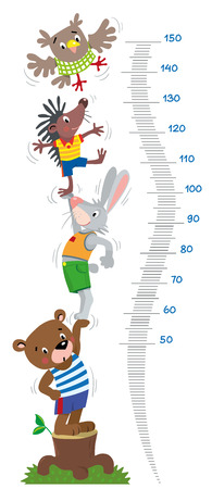 Meter wall or height chart with funny animals.