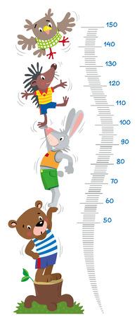 Medidor de pared o tabla de altura con animales graciosos.
