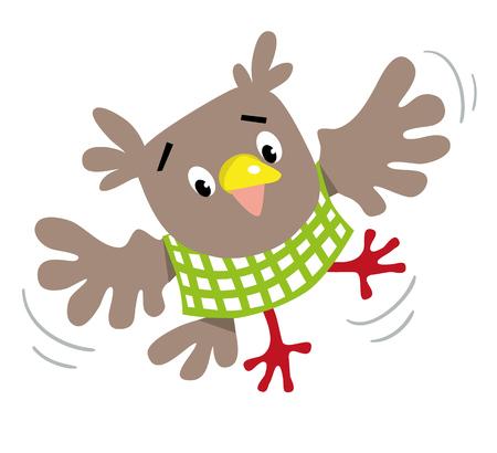 Funny flying owl Vector illustration.