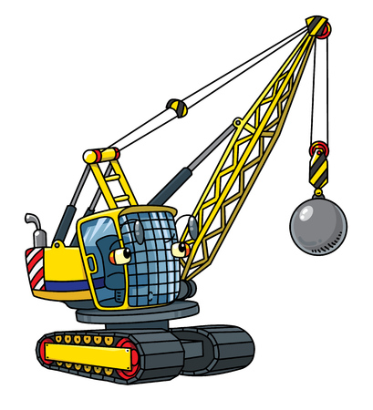 Wrecking ball truck or crane on white background.