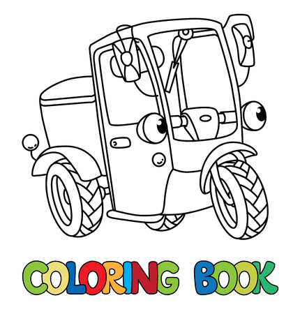 Scooter or delivery car coloring book for kids. Small funny vector cute vehicle with eyes and mouth. Coloring book. Children vector illustration