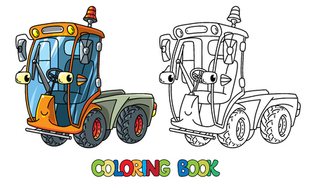 Funny small sweeper car with eyes coloring book.