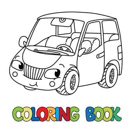 Funny small car with eyes, coloring book. Foto de archivo - 98889540