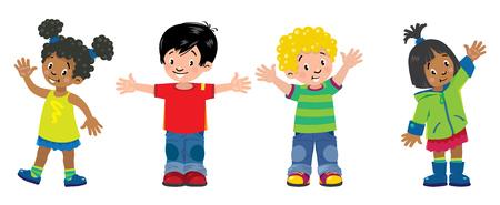 Niños. Conjunto de 4 niños, niños y niñas sonrientes Ilustración de vector