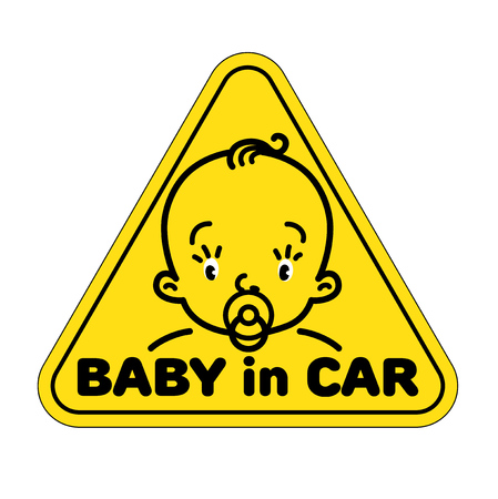 Baby in car sticker Illustration