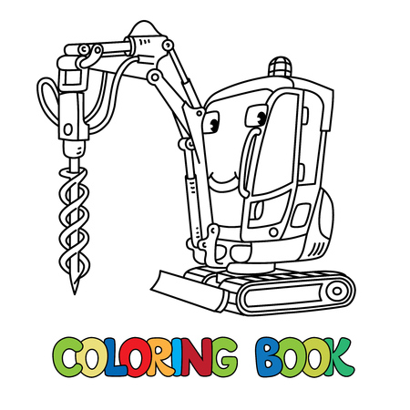 Tracked car with a drilling rig coloring book for kids. Small funny vector cute car with eyes and mouth. Children vector illustration. Heavy equipment and machinery
