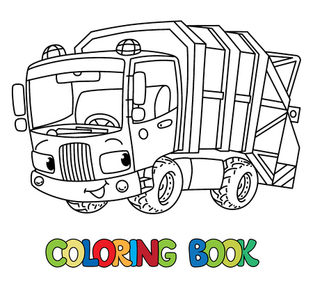 Funny garbage truck car with eyes. Coloring book