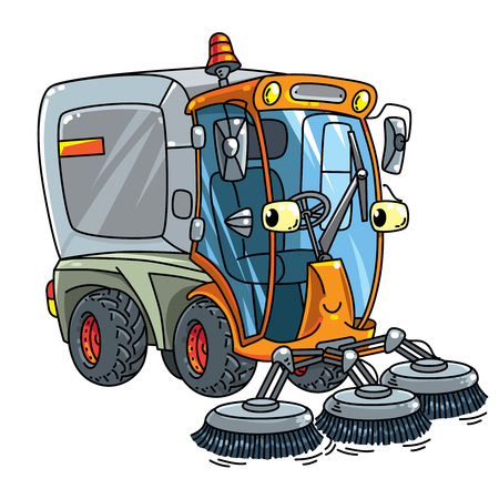 Funny small sweeper car with eyes