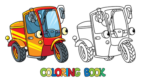 Funny small scooter or car with eyes Coloring book Ilustração