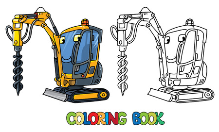 Small drilling truck. Car with eyes. Coloring book