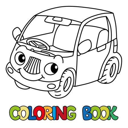 Funny small car with eyes. Coloring book Foto de archivo - 111703299