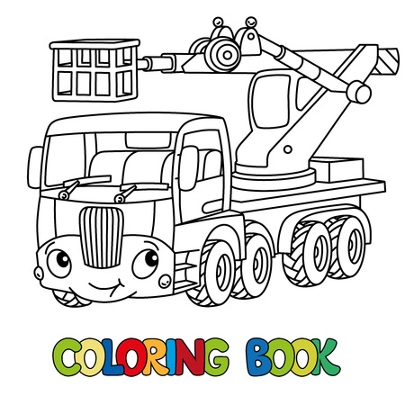 Telescopic boom lift car or truck coloring book. Small funny vector cute automobile with eyes and mouth. Children vector illustration. Municipal machinery for kids Illustration