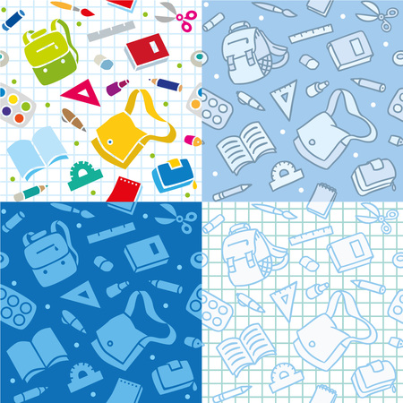 School seamless pattern with education supplies