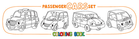 Funny small city cars with eyes. Coloring book set Foto de archivo - 111703313