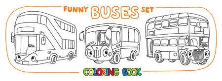 Buses coloring book set for kids. Small funny vector cute cars with eyes and mouth. Children vector illustration. Wagon Foto de archivo - 111803838