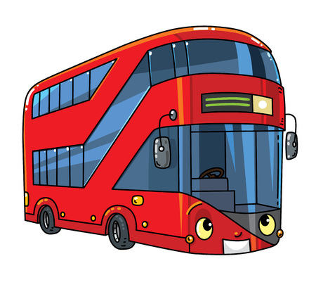 London modern double-decker bus. Small funny vector cute car or vehicle with eyes and mouth. Children vector illustration