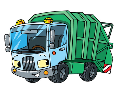 Garbage truck or trash car. Small funny vector cute automobile with eyes and mouth. Children vector illustration. Municipal machinery for kids Foto de archivo - 110528754