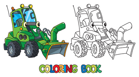 Funny snowthrower car with eyes. Coloring book