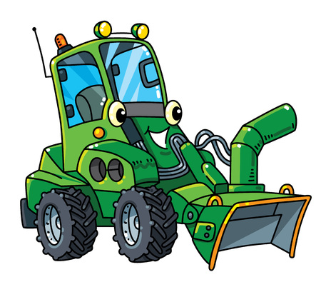 Snowthrower. Small funny vector cute car with eyes and mouth. Children vector illustration. Municipal machinery for kids 向量圖像