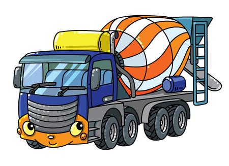 Camion malaxeur à béton. Petite voiture mignonne de vecteur drôle avec les yeux et la bouche. Illustration vectorielle d'enfants Vecteurs