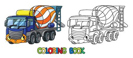 Livre de coloriage de camion malaxeur à béton pour les enfants. Petite voiture mignonne de vecteur drôle avec les yeux et la bouche. Illustration vectorielle d'enfants