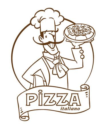 Funny italian chef with pizza. Emblem design Vetores