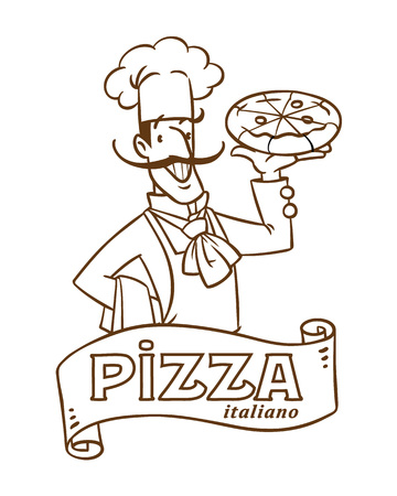 Funny italian chef with pizza. Emblem design