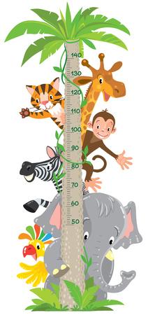 Giraffa divertente allegra, tigre, elefante, zebra, pappagallo e scimmia. Tabella dell'altezza o metro adesivo da parete o da parete. Illustrazione vettoriale per bambini con scala da 50 a 140 centimetri.