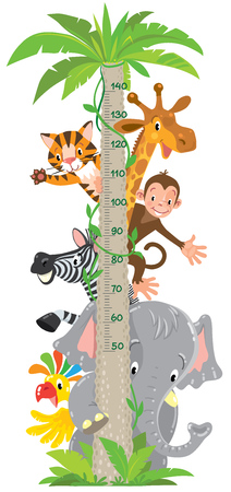 Vrolijke grappige giraf, tijger, olifant, zebra, papegaai en aap. Hoogtemeter of metermuur of muursticker. Childrens vectorillustratie met schaal van 50 tot 140 centimeter.