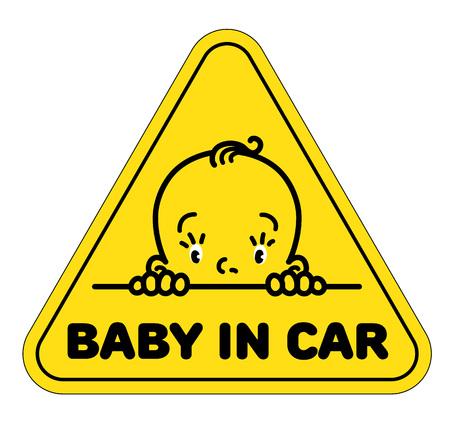 Bambino in adesivo per auto. Faccia buffa di ragazzo o ragazza