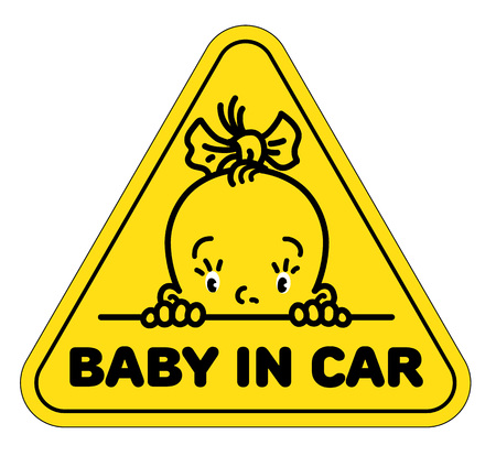 Baby in car sticker. Funny small face of girl.