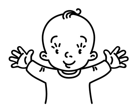 Baby design template. Funny small boy or girl, with open arms. Children vector illustration