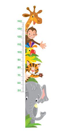 Allegro divertente giraffa, tigre, elefante, pappagallo e scimmia. Tabella di altezza o metro da parete o adesivo da parete. Illustrazione vettoriale per bambini con scala da 50 a 140 centimetri. Vettoriali