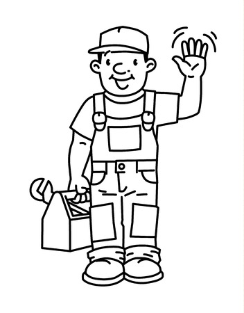 Funny plumber or repairman with the tools Vetores